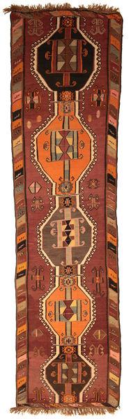 Kilim Fars Rug 130X500 Authentic  Oriental Handwoven Hallway Runner  Dark Red/Dark Brown (Wool, Turkey)