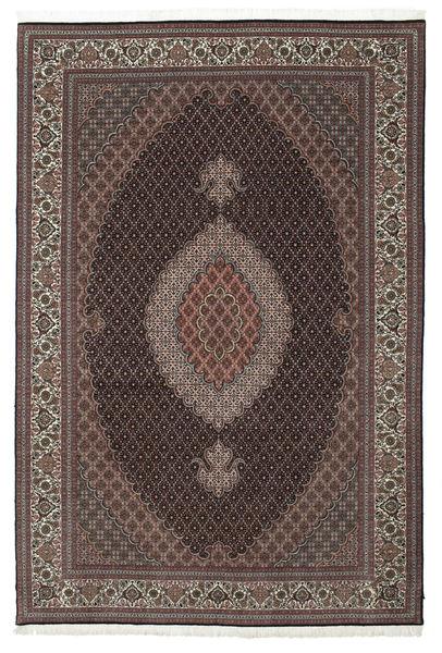 Tabriz 50 Raj With Silk Rug 202X304 Authentic  Oriental Handknotted Dark Brown/Light Brown (Wool/Silk, Persia/Iran)