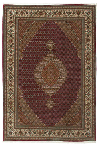 Tabriz 50 Raj Met Zijde Vloerkleed 207X304 Echt Oosters Handgeknoopt Lichtbruin/Bruin/Donkerbruin (Wol/Zijde, Perzië/Iran)