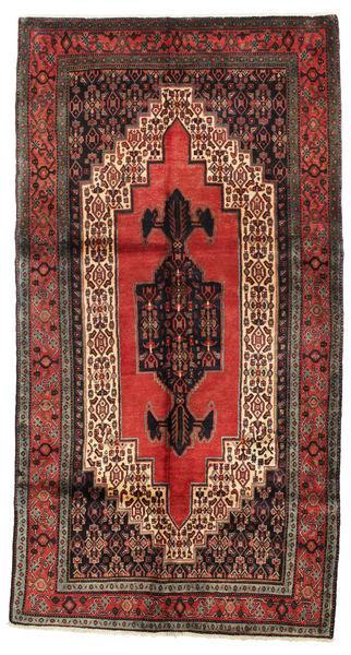 Senneh Dywan 154X290 Orientalny Tkany Ręcznie Ciemnoczerwony/Ciemnobrązowy (Wełna, Persja/Iran)