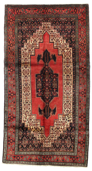 Senneh Rug 154X290 Authentic  Oriental Handknotted Dark Red/Dark Brown (Wool, Persia/Iran)