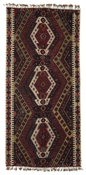 Kelim Malatya Vloerkleed 186X391 Echt Oosters Handgeweven Donkerbruin/Zwart (Wol, Turkije)