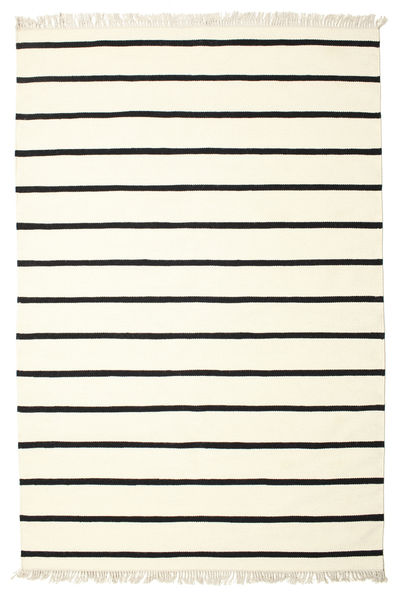 Dhurrie Stripe - White/Black Rug 190X290 Authentic  Modern Handwoven Beige/Black (Wool, India)