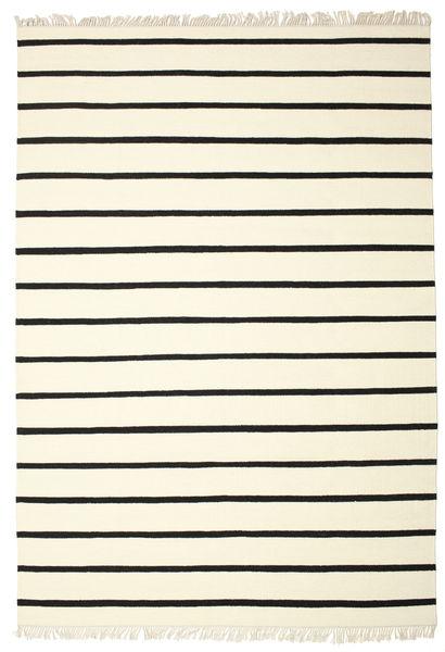 Dorri Stripe - Wit/Zwart Vloerkleed 220X320 Echt Modern Handgeweven Beige/Zwart (Wol, India)