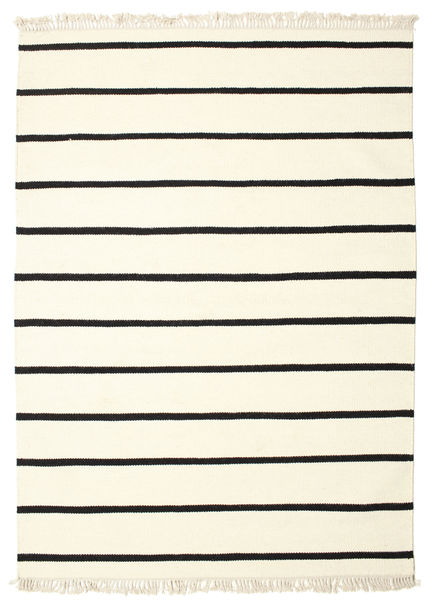 Dhurrie Stripe - White/Black Rug 140X200 Authentic  Modern Handwoven Beige (Wool, India)