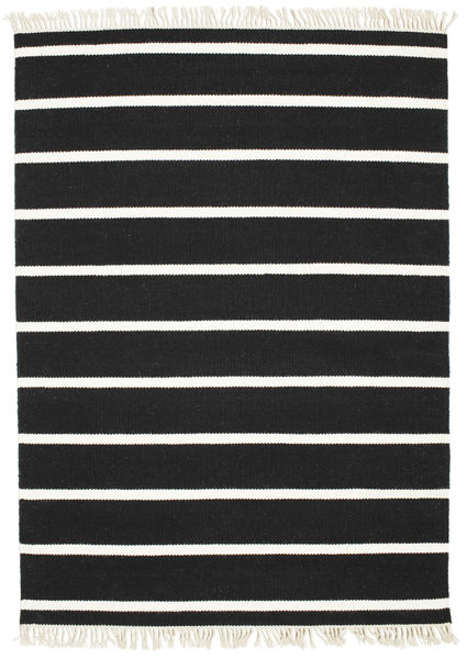 Dhurrie Stripe - Black/White Rug 140X200 Authentic  Modern Handwoven Black/Beige (Wool, India)