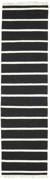 Dhurrie Stripe - Black/White Rug 80X300 Authentic  Modern Handwoven Hallway Runner  Black (Wool, India)