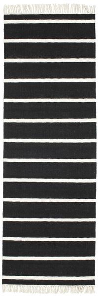 Dorri Stripe - Schwarz/Weiß Teppich  80X250 Echter Moderner Handgewebter Läufer Schwartz/Beige (Wolle, Indien)