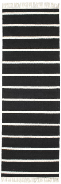 Dhurrie Stripe - Black/White Rug 80X250 Authentic  Modern Handwoven Hallway Runner  Black/Beige (Wool, India)