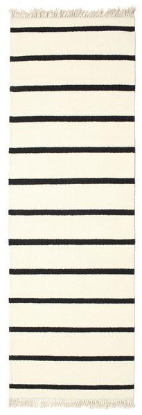 Dorri Stripe - Blanco/Negro Alfombra 80X250 Moderna Tejida A Mano Blanco/Crema/Beige (Lana, India)