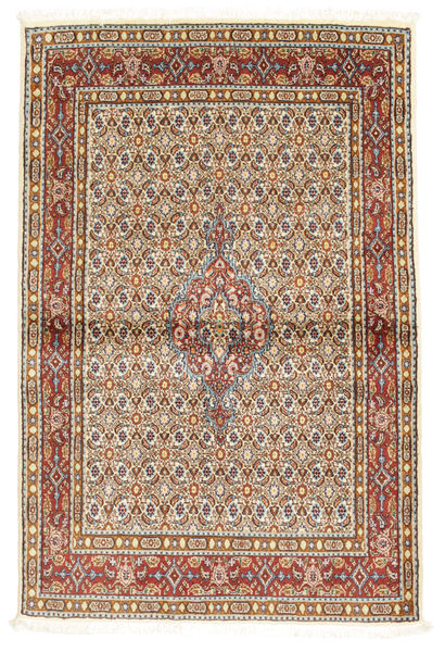 Moud Matta 97X146 Äkta Orientalisk Handknuten Ljusbrun/Vit/Cremefärgad (Ull/Silke, Persien/Iran)