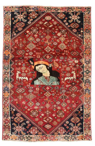 Ghashghai Figural/Pictorial Matto 132X197 Itämainen Käsinsolmittu Tummanpunainen/Ruoste (Villa, Persia/Iran)