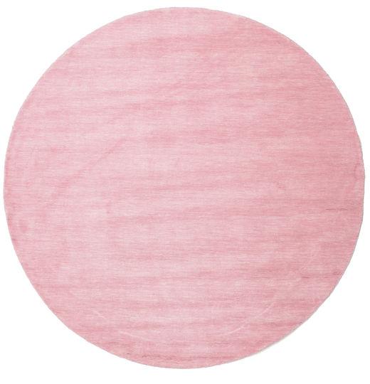 Handloom - Roze Tapijt Ø 200 Modern Rond Lichtroze/Roze (Wol, India)