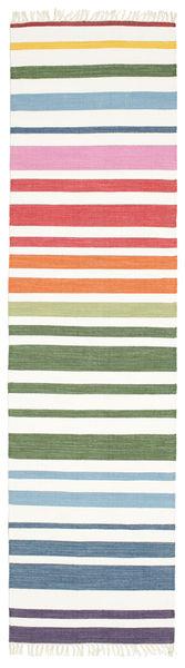 Rainbow Stripe - Vit Matta 80X300 Äkta Modern Handvävd Hallmatta Vit/Cremefärgad/Beige (Bomull, Indien)