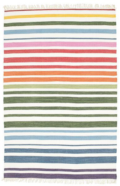 Rainbow Stripe - Blanco Alfombra 140X200 Moderna Tejida A Mano Beige/Blanco/Crema (Algodón, India)