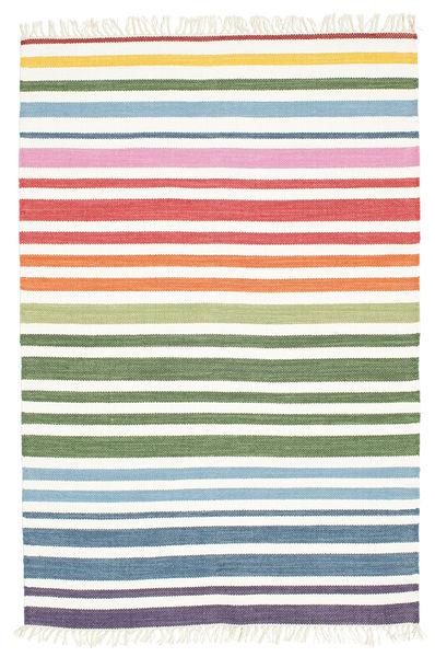 Rainbow Stripe - Hvid Tæppe 120X180 Ægte Moderne Håndvævet Beige/Hvid/Creme (Bomuld, Indien)
