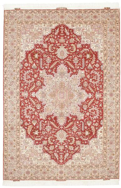 Tabriz 50 Raj Silkillä Matto 205X300 Itämainen Käsinsolmittu Vaaleanpunainen/Vaaleanruskea (Villa/Silkki, Persia/Iran)