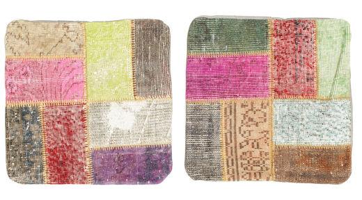 Patchwork Tyynynpäällinen Matto 50X50 Itämainen Käsinsolmittu Neliö Vaaleanruskea/Vaaleanpunainen (Villa, Turkki)