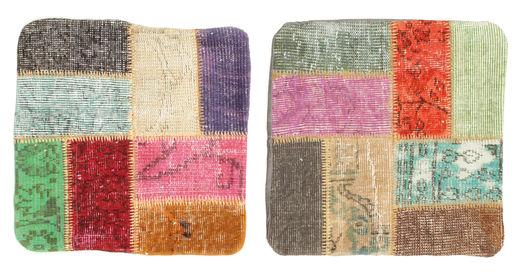 Patchwork Tyynynpäällinen Matto 50X50 Itämainen Käsinsolmittu Neliö Vaaleanharmaa/Vaaleanpunainen (Villa, Turkki)
