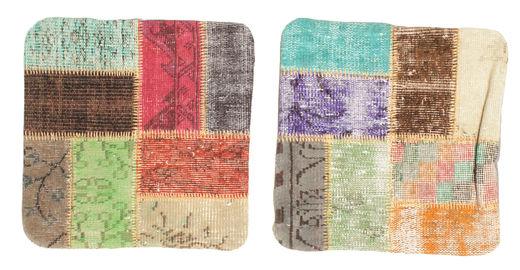 Patchwork Putevar Teppe 50X50 Ekte Orientalsk Håndknyttet Kvadratisk Lysbrun/Beige (Ull, Tyrkia)