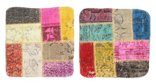 Patchwork Tyynynpäällinen Matto 50X50 Itämainen Käsinsolmittu Neliö Vaaleanpunainen/Tummansininen (Villa, Turkki)