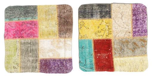 Patchwork Tyynynpäällinen Matto 50X50 Itämainen Käsinsolmittu Neliö Keltainen/Tummanbeige (Villa, Turkki)