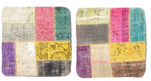 Patchwork Putevar Teppe 50X50 Ekte Orientalsk Håndknyttet Kvadratisk Mørk Brun/Rosa (Ull, Tyrkia)