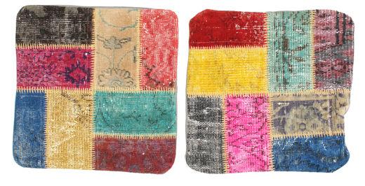 Patchwork Kuddfodral Matta 50X50 Äkta Orientalisk Handknuten Kvadratisk Rosa/Ljusgrå (Ull, Turkiet)