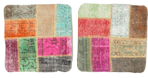 Patchwork Funda De Cojín Alfombra 50X50 Oriental Hecha A Mano Cuadrada Rosa Claro/Marrón Claro (Lana, Turquía)