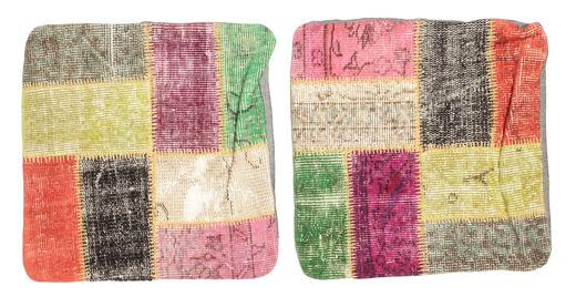 Patchwork Putevar Teppe 50X50 Ekte Orientalsk Håndknyttet Kvadratisk Beige/Mørk Beige (Ull, Tyrkia)