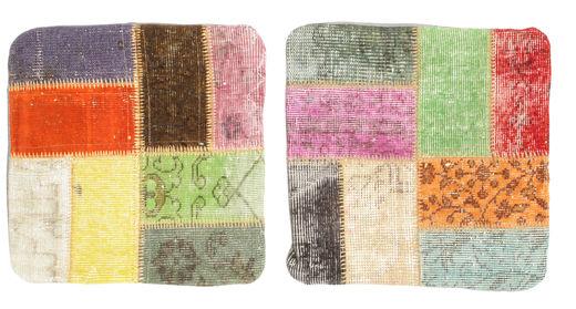 Patchwork Tyynynpäällinen Matto 50X50 Itämainen Käsinsolmittu Neliö Vaaleanvihreä/Vaaleanpunainen (Villa, Turkki)
