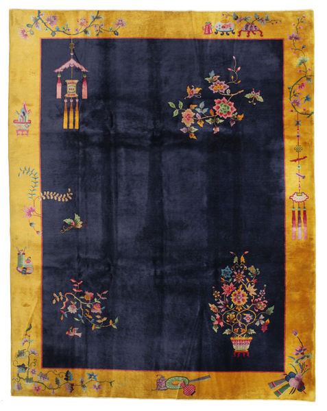 China Antique: Art Deco 1920 Rug 280X355 Authentic  Oriental Handknotted Dark Blue/Dark Grey Large (Wool, China)