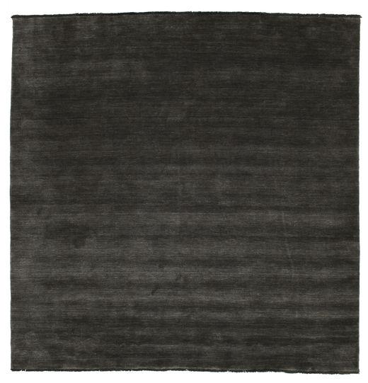 Handloom Fringes - Musta/Harmaa Matto 250X250 Moderni Neliö Musta Isot (Villa, Intia)