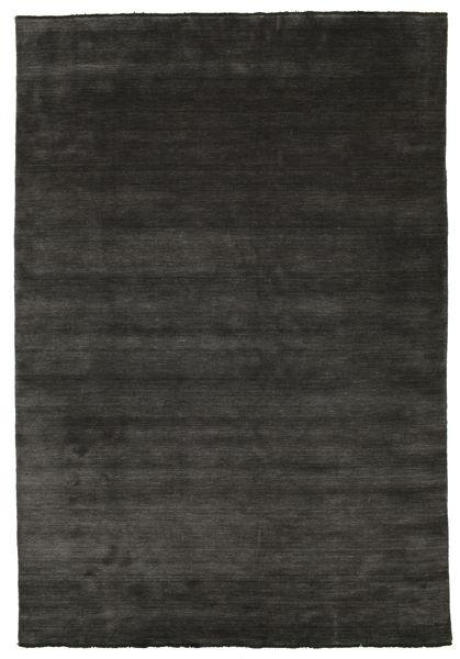 ハンドルーム Fringes - 黒/グレー 絨毯 220X320 モダン 濃いグレー (ウール, インド)