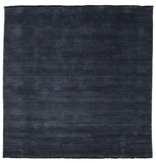 Handloom Fringes - Mörkblå Matta 200X200 Modern Kvadratisk Mörkblå (Ull, Indien)