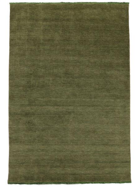 Handloom Fringes - Groen Vloerkleed 160X230 Modern Olijfgroen (Wol, India)