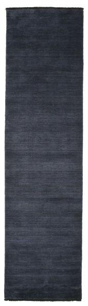 Handloom Fringes - Mørk Blå Teppe 80X300 Moderne Teppeløpere Mørk Blå (Ull, India)