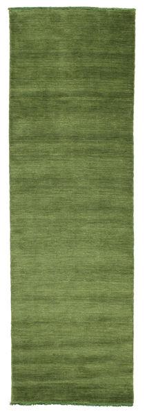 ハンドルーム Fringes - グリーン 絨毯 80X250 モダン 廊下 カーペット オリーブ色/深緑色の (ウール, インド)