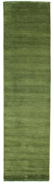 Handloom Fringes - Grøn Tæppe 80X300 Moderne Tæppeløber Olivengrøn/Mørkegrøn (Uld, Indien)