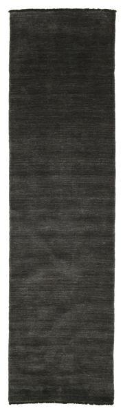 Handloom Fringes - Fekete/Szürke Szőnyeg 80X300 Modern Fekete/Sötétszürke (Gyapjú, India)