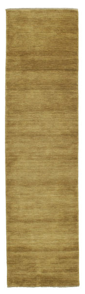 Handloom Fringes - Olive Green Rug 80X300 Modern Hallway Runner  Olive Green/Brown (Wool, India)