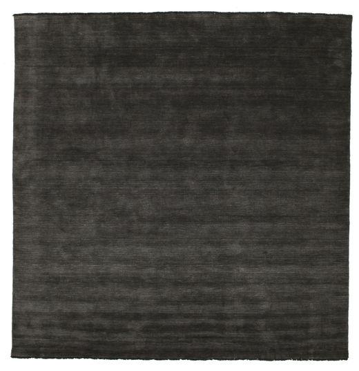 ハンドルーム Fringes - 黒/グレー 絨毯 300X300 モダン 正方形 黒/濃いグレー 大きな (ウール, インド)