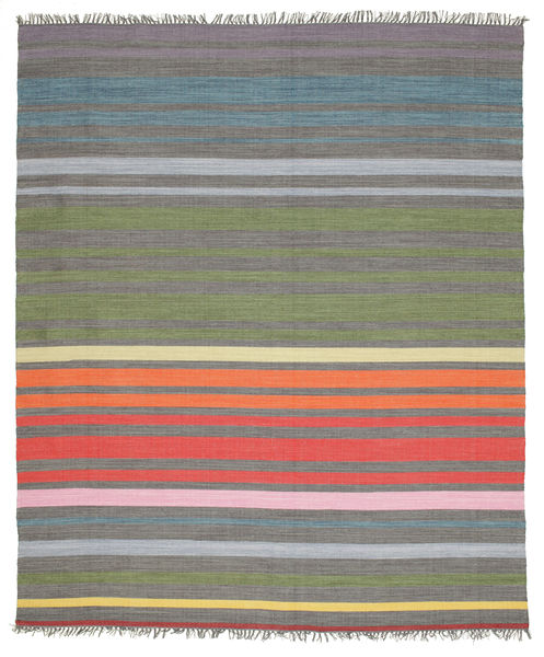 Rainbow Stripe - Grey Rug 250X300 Authentic  Modern Handwoven Dark Grey/Olive Green Large (Cotton, India)