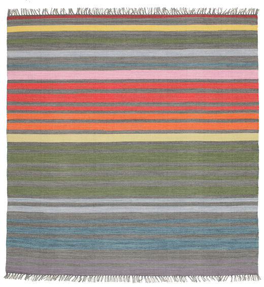 Rainbow Stripe - Gris Alfombra 200X200 Moderna Tejida A Mano Cuadrada Gris Oscuro/Gris Claro (Algodón, India)