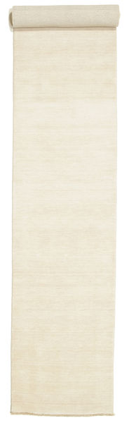 Handloom Fringes - Light Rug 80X500 Modern Hallway Runner  Beige (Wool, India)