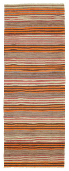 Kilim Semi Antique Turkish Rug 151X408 Authentic  Oriental Handwoven Hallway Runner  Brown/Light Brown/Orange (Wool, Turkey)
