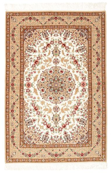 Ispahan Chaîne De Soie Tapis 108X161 D'orient Fait Main Beige/Marron (Laine/Soie, Perse/Iran)