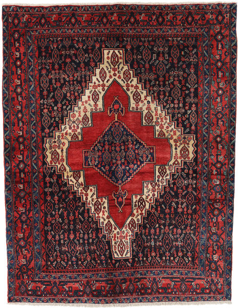 Senneh Rug 157X203 Authentic  Oriental Handknotted Black/Dark Red (Wool, Persia/Iran)