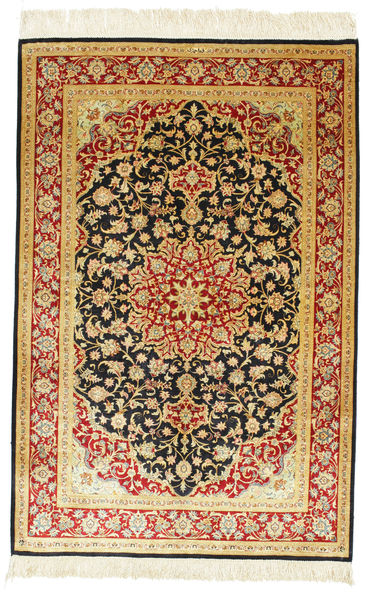 Ghom Soie Signé: Ghom Ahmadi Tapis 98X148 D'orient Fait Main Beige/Rouille/Rouge (Soie, Perse/Iran)