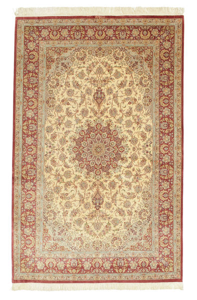 Qum Silk Signed: Dashi Zadeh Rug 136X213 Authentic  Oriental Handknotted Light Brown/Dark Beige (Silk, Persia/Iran)